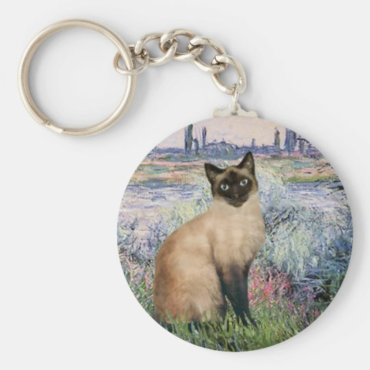 By the Seine - Seal Point Siamese cat Basic Round Button Key Ring