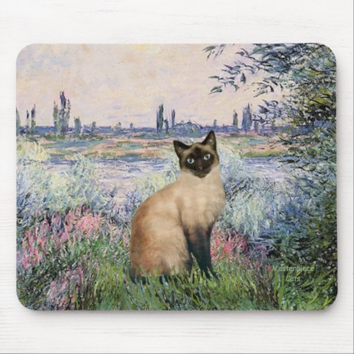 By the Seine - Seal Point Siamese cat Mousepad