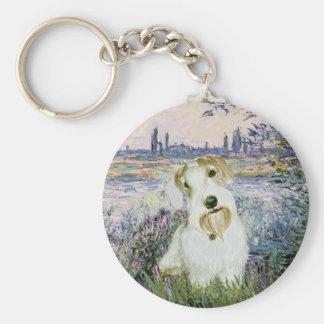 By the Seine - Sealyham Terrier Basic Round Button Key Ring