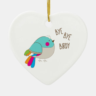 Bye Bye Birdy Ceramic Heart Decoration