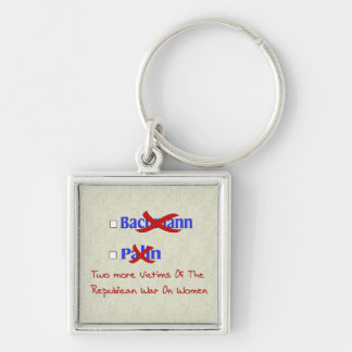 BYE-BYE LADIES Silver-Colored SQUARE KEY RING