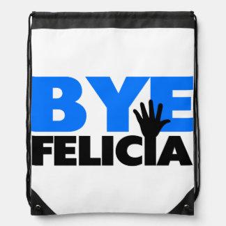 Bye Felicia Hand Wave Bold Blue Drawstring Backpacks
