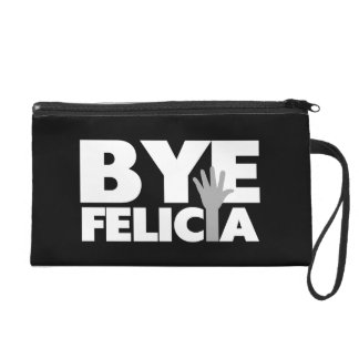 Bye Felicia Hand Wave Grey & White Wristlet Clutch