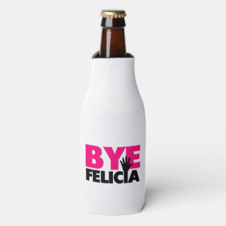Bye Felicia Hand Wave Hot Pink Bottle Cooler