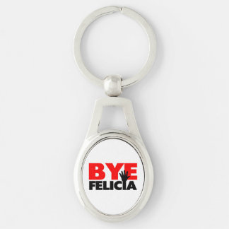 Bye Felicia Hand Wave Silver-Colored Oval Key Ring