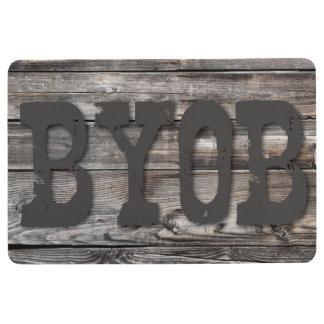BYOB - on wood texture Floor Mat