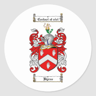BYRNE FAMILY CREST -  BYRNE COAT OF ARMS ROUND STICKER