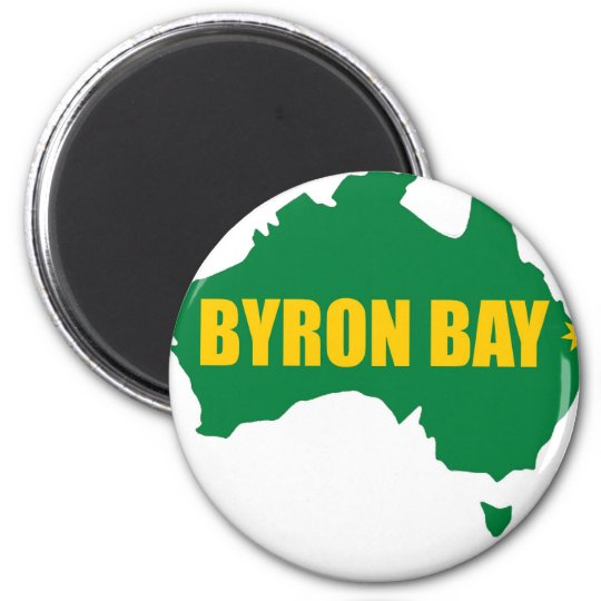 Byron Bay Green and Gold Map 6 Cm Round Magnet