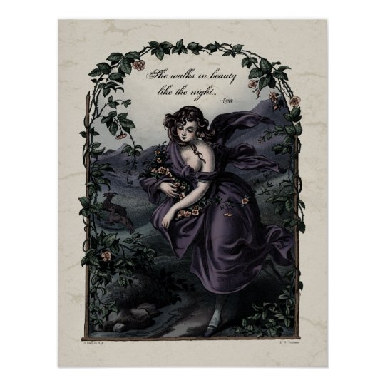 "Byron ""She Walks in Beauty"" Victorian Art Poster"