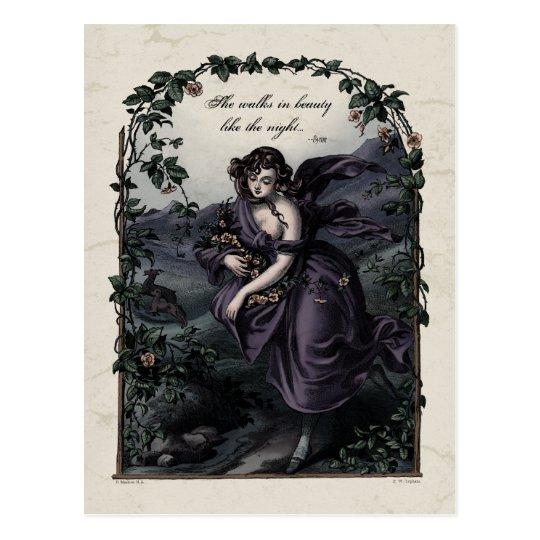 """Byron """"She Walks in Beauty"""" Victorian Postcard"""