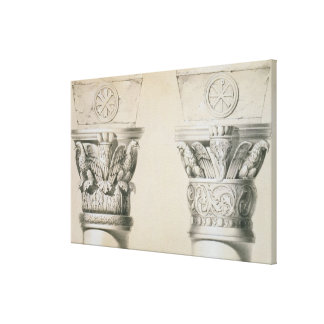 Byzantine capitals from columns in the nave of the canvas print