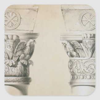 Byzantine capitals from columns in the nave of the square sticker