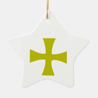Byzantine Cross of Gold Ceramic Star Decoration