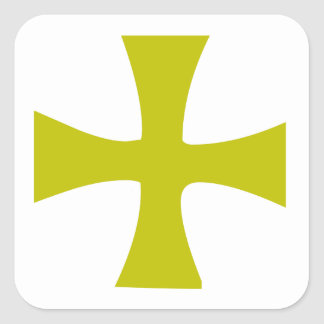 Byzantine Cross of Gold Square Sticker