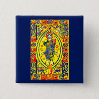 Byzantine folk art Jesus 15 Cm Square Badge