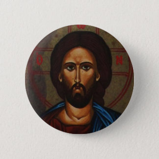 Byzantine Greek Orthodox Icon JESUS CHRIST 6 Cm Round Badge