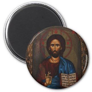 Byzantine Greek Orthodox Icon JESUS CHRIST 6 Cm Round Magnet