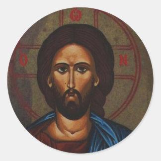 Byzantine Greek Orthodox Icon JESUS CHRIST Round Sticker