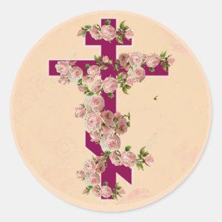 Byzantine Orthodox Eastern Rite Cross Pink Roses Classic Round Sticker