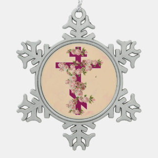 Byzantine Orthodox Eastern Rite Cross Pink Roses Snowflake Pewter Christmas Ornament