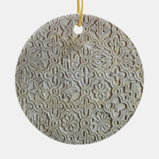 Byzantine slab with cruciform decoration, 12th-14t round ceramic decoration