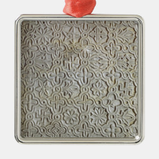Byzantine slab with cruciform decoration, 12th-14t Silver-Colored square decoration