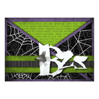Bzz Gross Flies and Spider Webs for Halloween 13 Cm X 18 Cm Invitation Card