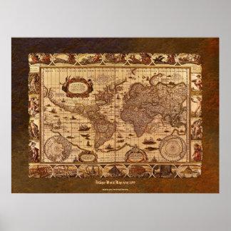 c1499 Antique World Map Art w Organic Border Poster