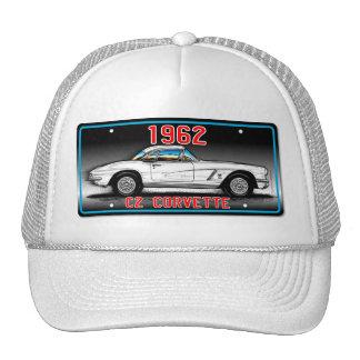 C1 1962 Corvette License Plate Art-Gray Background Cap