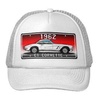 C1 1962 Corvette License Plate Art-Red Background Cap