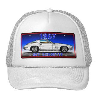 C2 1967 Corvette License Plate Art-Blue Background Cap