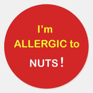c2 - I m Allergic - NUTS Round Stickers