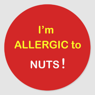 c2 - I'm Allergic - NUTS. Classic Round Sticker