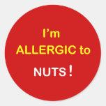 c2 - I'm Allergic - NUTS. Round Stickers