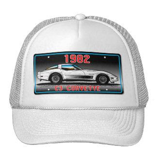 C3 1982 Corvette License Plate Art-Gray Background Cap