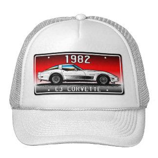 C3 1982 Corvette License Plate Art-Red Background Cap