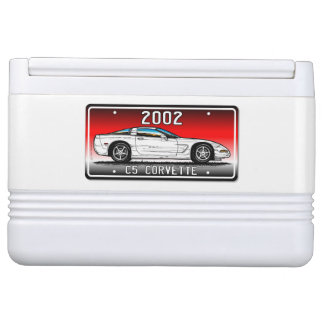 C5 2002 Coupe Red  Background Vette Lic Plate Art Igloo Cooler