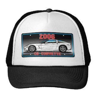 C6 2006 Corvette License Plate Art-Gray Background Hat