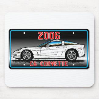 C6 2006 Corvette License Plate Art-Gray Background Mousepads