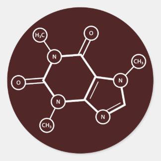 C8H10N4O2 molecular structure Round Sticker