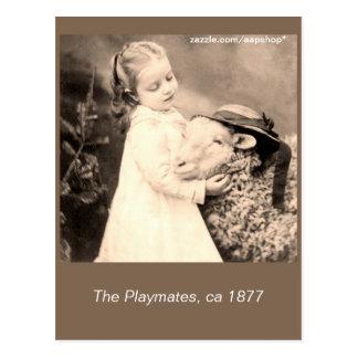 c 1877 The playmates, little girl, sheep Postcard