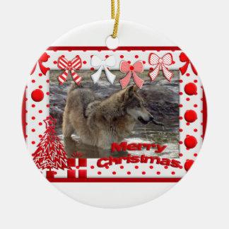 c-2011-grey-wolf-017 christmas ornament
