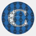 """C"" Diamond Bling on Damask Sticker"
