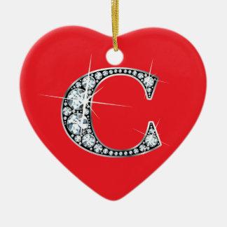 """C"" Diamond Bling on Red Ornament"