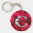 "C ""Diamond Bling"" & Red Stained Glass Key Ring"