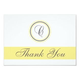 C Dot Circle Monogam Thank You Cards (Yellow/Gray) 9 Cm X 13 Cm Invitation Card