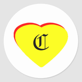 """""""C"""" Heart Yellow Red Wedding Invitation The MUSEUM Round Stickers"""