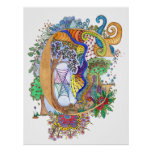 C Illuminated Letter initial monogram wedding Poster