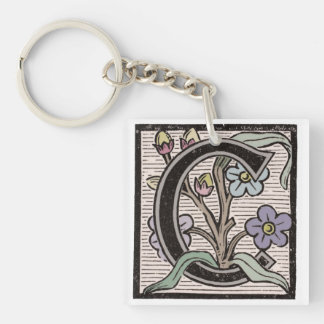 C Initial Cap Decorative Floral Design Vintage Single-Sided Square Acrylic Key Ring