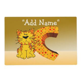 """""""C"""" Initial Cat Artmat Laminated Placemat"""